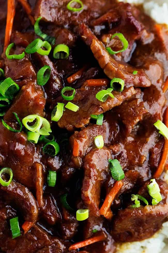 Close up of finished mongolian beef.