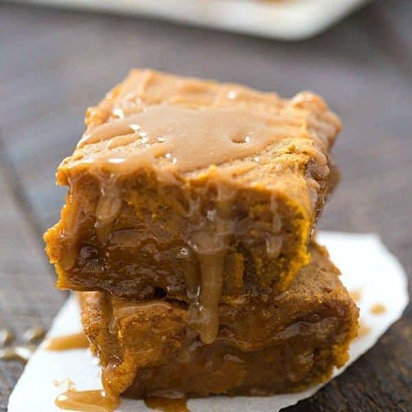 Pumpkin Pie Caramel Blondies - Rich, gooey and the perfect fall dessert!