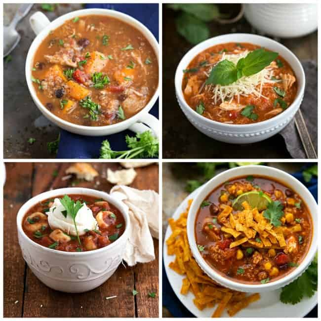 Crockpot Sweet Potato, Chicken, and Quinoa Soup, Crockpot Quinoa Chicken Parmesan Soup, Crockpot Tortellini Lasagna Soup, Crockpot Mexican Tortilla Chicken and Quinoa Soup