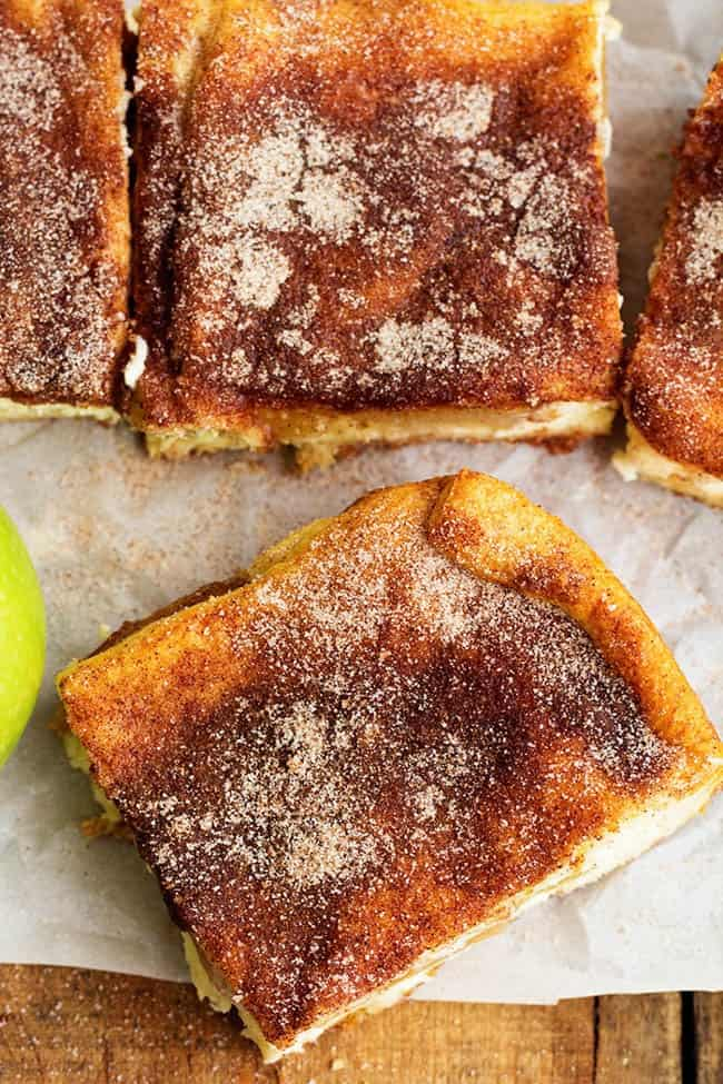 Areal view of apple churro cheesecake bars.