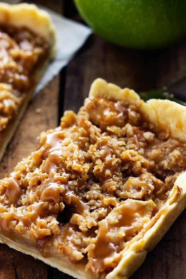 Close up on a piece of caramel apple slab pie.