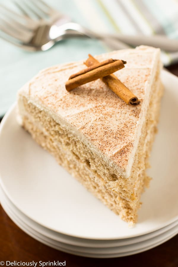 Cinnamon-Sugar Cake on a white plate.