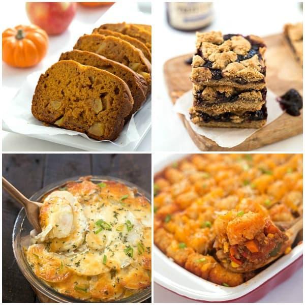 Collage of Apple Pumpkin Bread, Peanut Butter and Blueberry Jelly Bars, Skinny Chicken Loaded Potato Casserole, Tater Tot Sloppy Joe Casserole