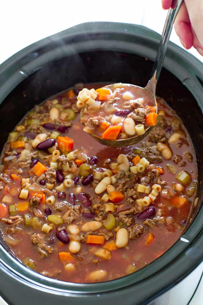 Slow cooker pasta fagioli soup