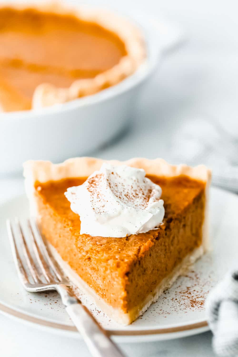pumpkin pie sliced with whipped cream