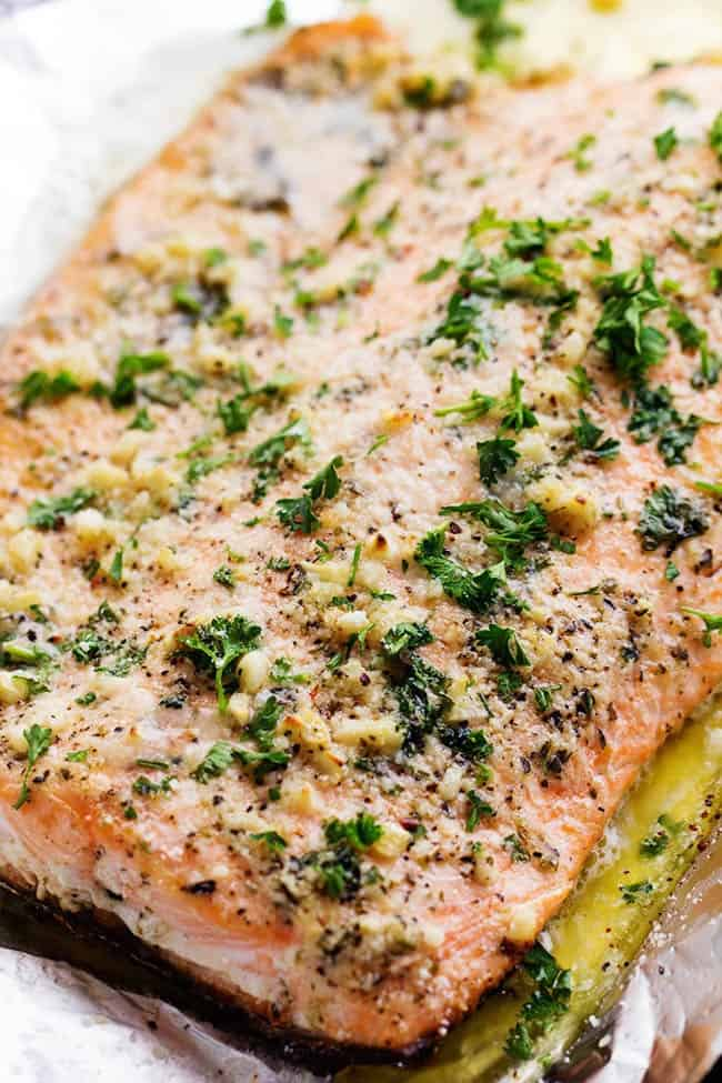 Parmesan Garlic Butter Herb Salmon close up.