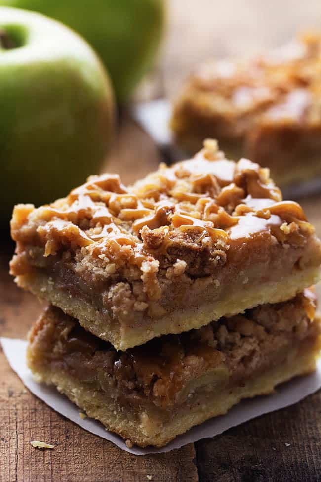 Caramel apple bars in a stack.