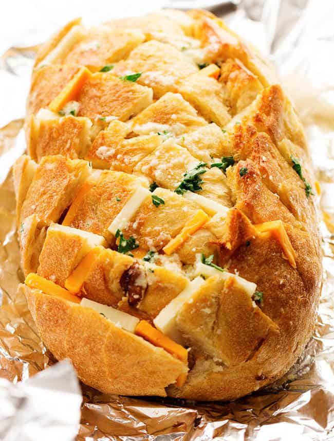 Close up of three cheese pull apart bread.
