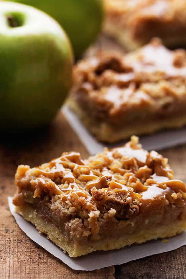 Close up on a dutch caramel apple pie bar.