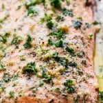 Baked Parmesan Garlic Herb Salmon in foil