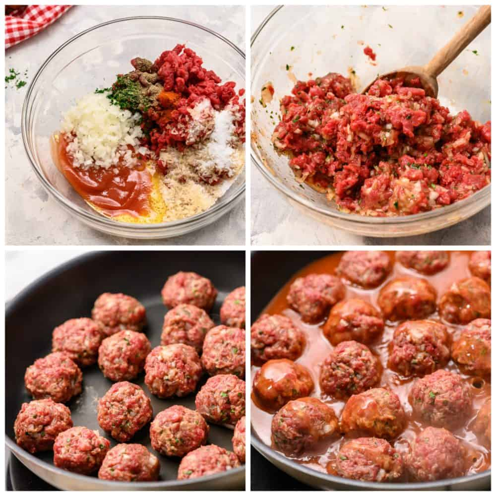 Making homemade meatballs but adding all of the ingredients together and mixing it until well combined then rolling into 1 in balls and cooking on a skillet until cooked through then adding a sauce over top of the meatballs.