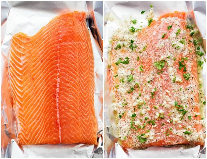 salmon unseasoned and with seasoning.