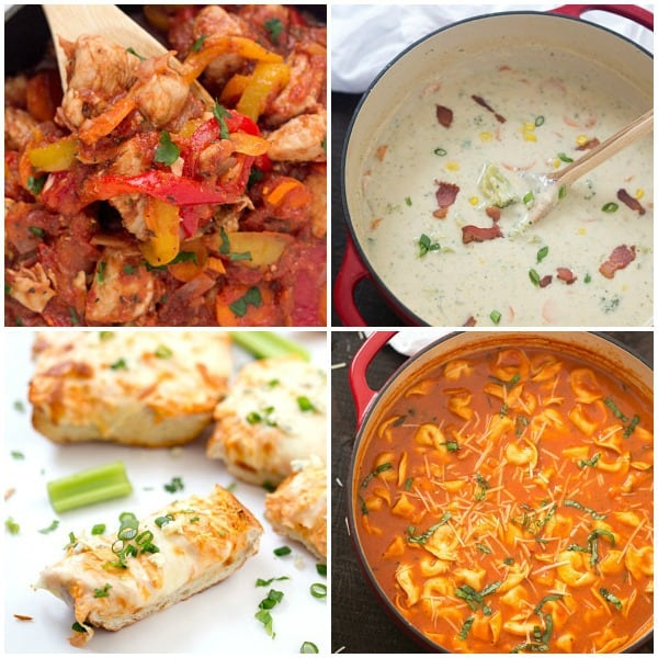 One-Pan Chicken Cacciatore, Lightened-Up Broccoli and Bacon Chowder, Buffalo Chicken French Bread, One-Pot Tomato and Basil Tortellini Soup