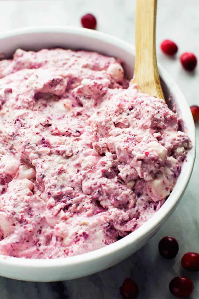 creamy and delicious cheesecake fluff salad with cranberries and ...