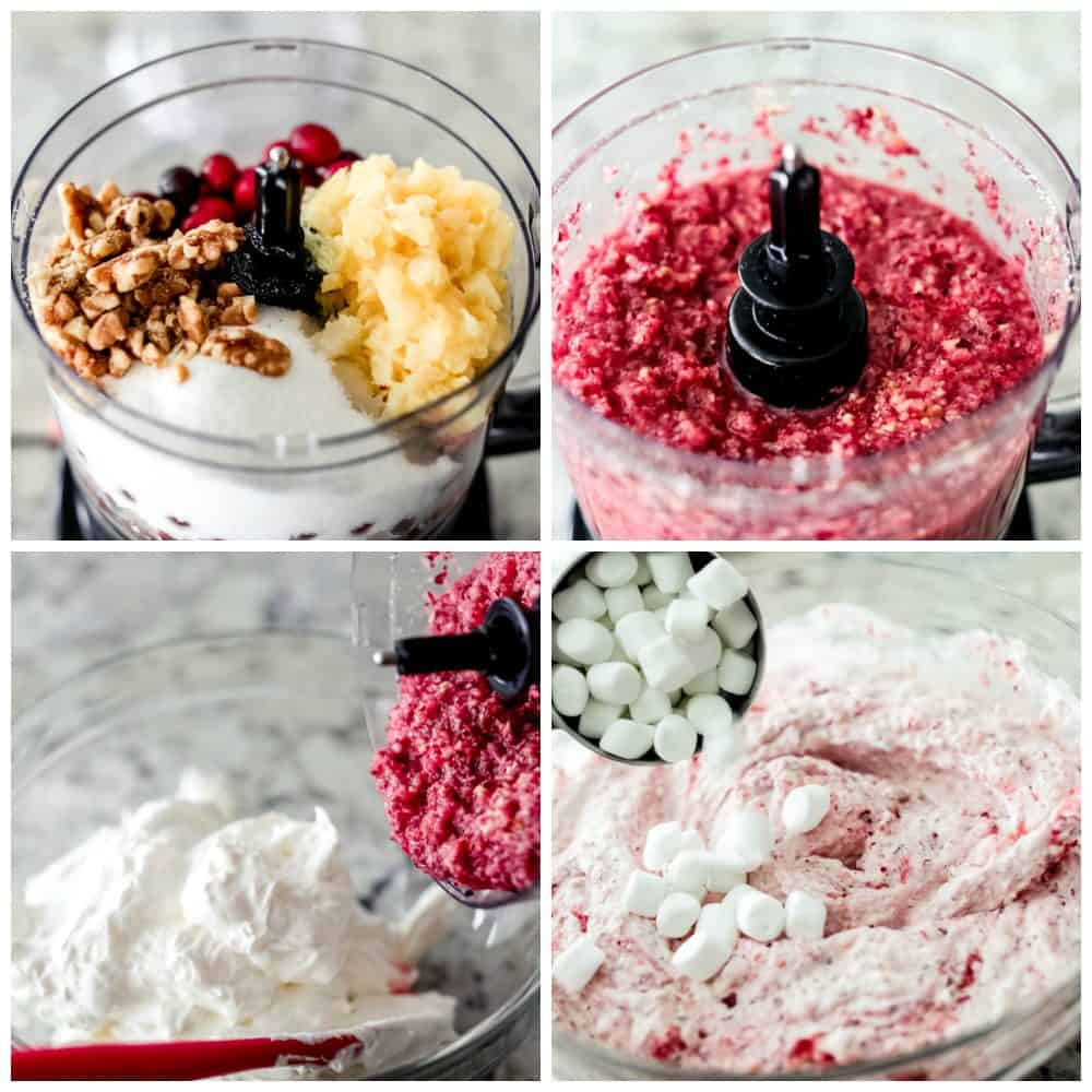 Step by step process of making cranberry cheesecake fluff