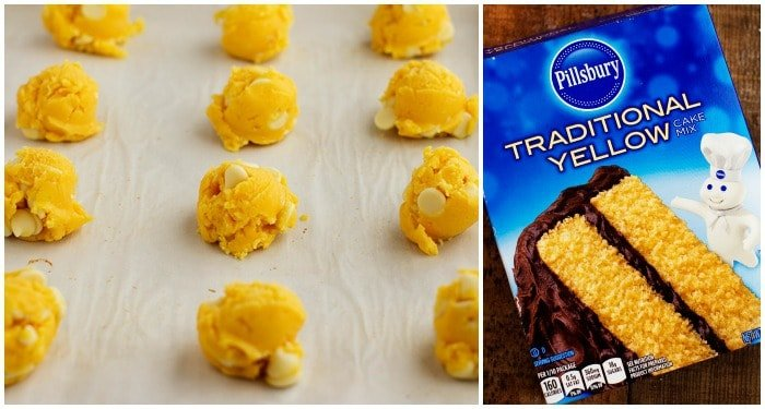 Cookie dough in rolls and in rows. Traditional yellow pillsbury cake mix box.