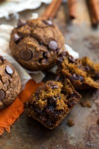 Skinny and Flourless Pumpkin Chocolate-Chip Muffins