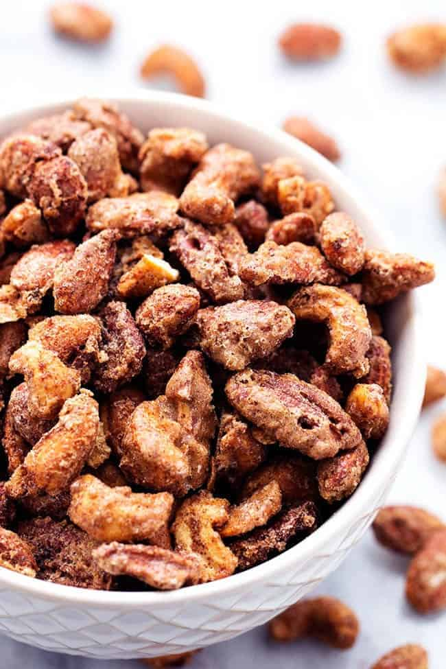 cinnamon nuts in a white bowl.