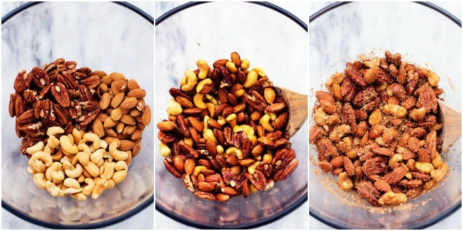 cinnamon sugar nuts collage showing each step to prepare them.