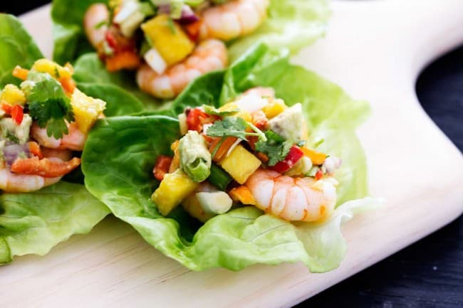 Lettuce wraps with shrimp and mango avocado salsa.