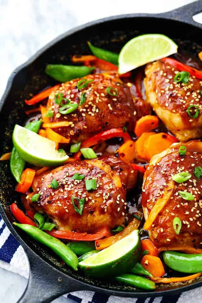 Thai Peanut Skillet Chicken with lime and other vegetables.