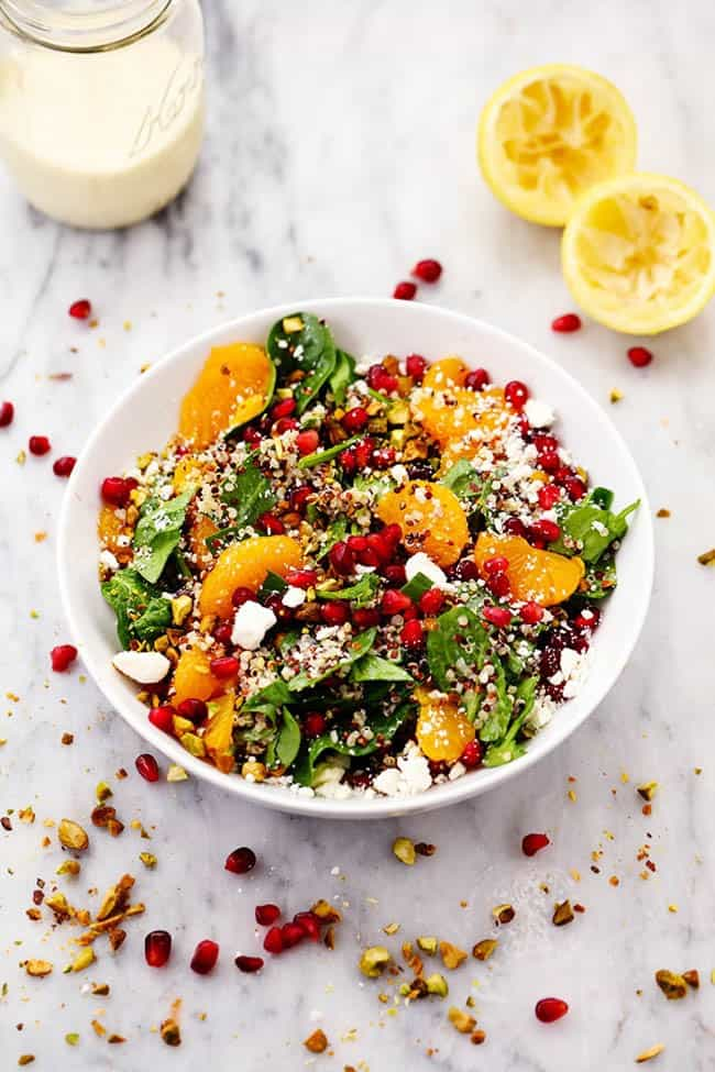 WINTER POMEGRANATE ORANGE QUINOA SALAD WITH CREAMY LEMON GREEK YOGURT DRESSING