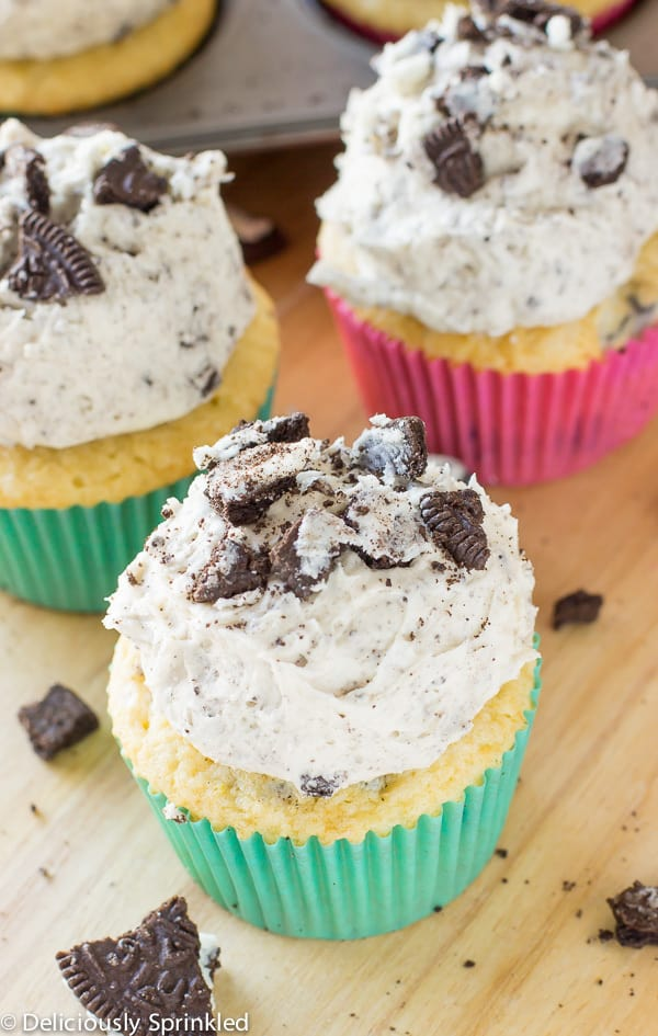 Cookies and Cream Cupcakes on a wooden table.