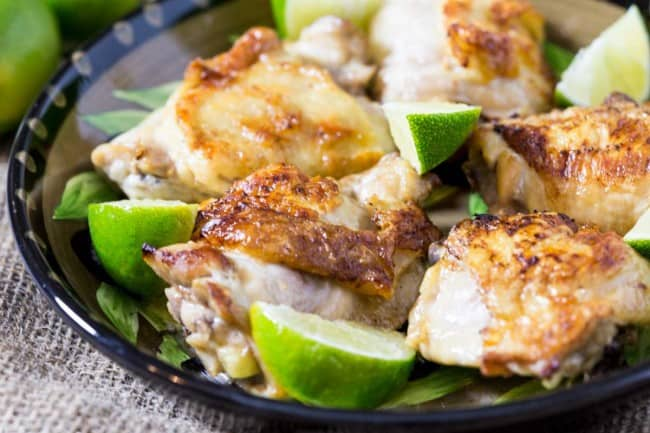 Coconut lime skillet chicken in a nice decorative bowl.