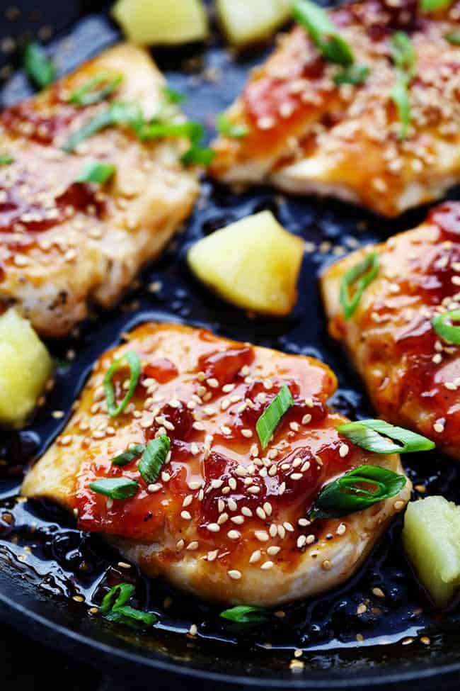 Chicken teriyaki with pineapple and onion