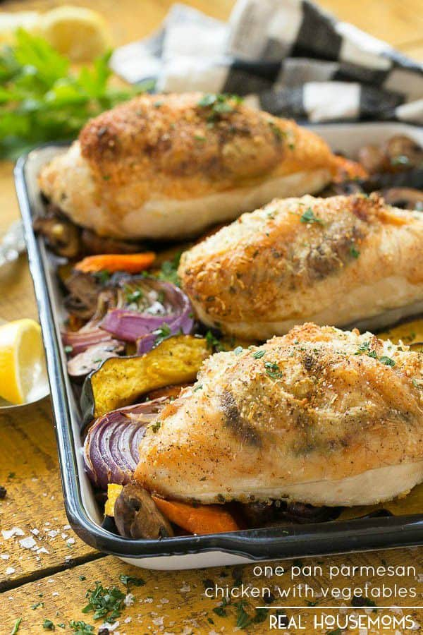 One Pan Parmesan Chicken with Vegetables