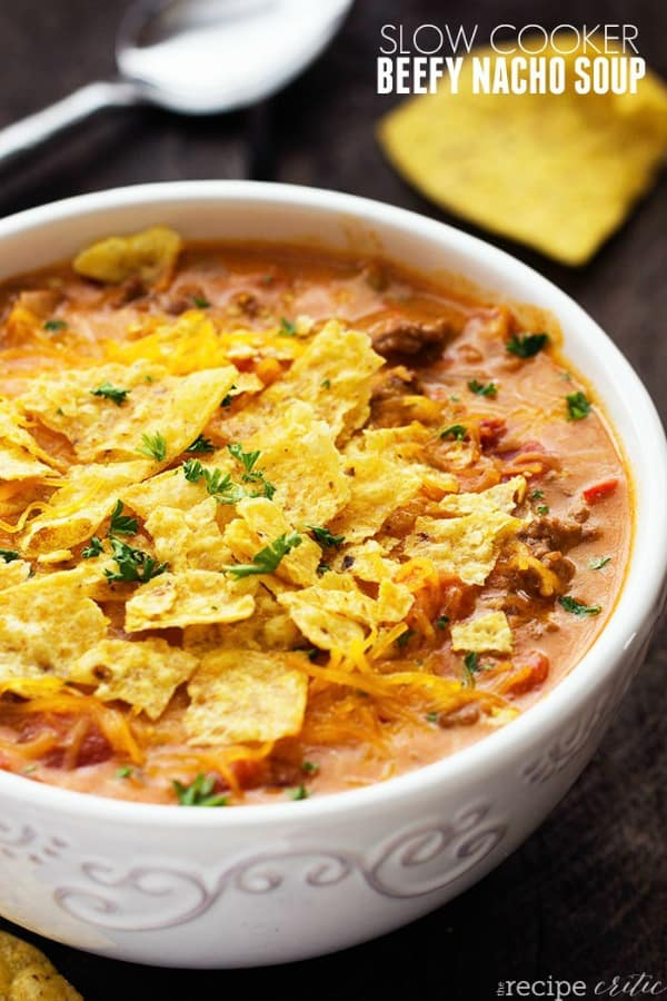 Slow Cooker Beefy Nacho Soup
