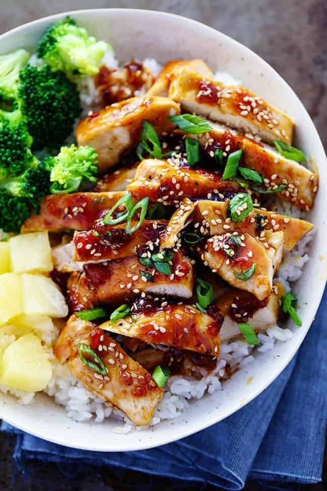 Teriyaki Chicken with broccoli, pineapple and rice in a bowl