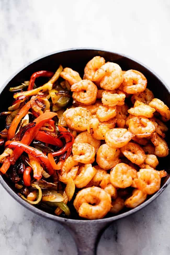 Creamy Shrimp Fajita Pasta Skillet in a large black skillet.