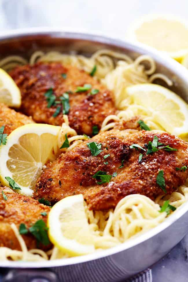 Crispy Parmesan Chicken with Creamy Lemon Garlic Pasta2