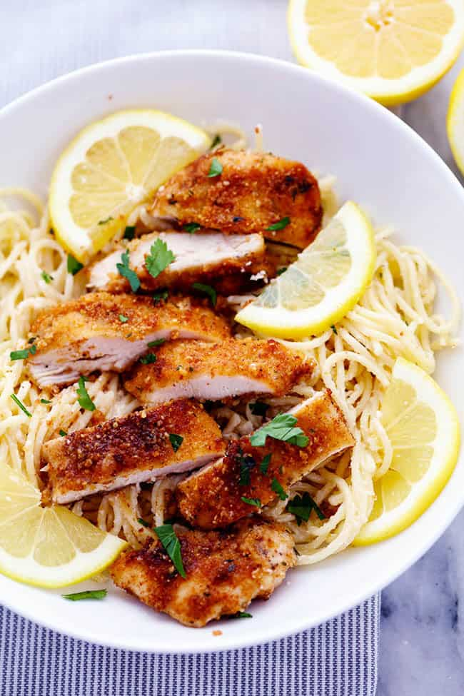 Crispy Parmesan Chicken with Creamy Lemon Garlic Pasta4
