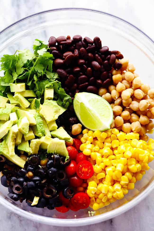 southwest chickpea salad ingredients in a bowl