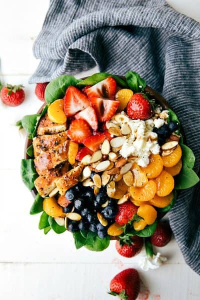 Almond, Berry, and Chicken Spinach Salad with an easy healthy dressing