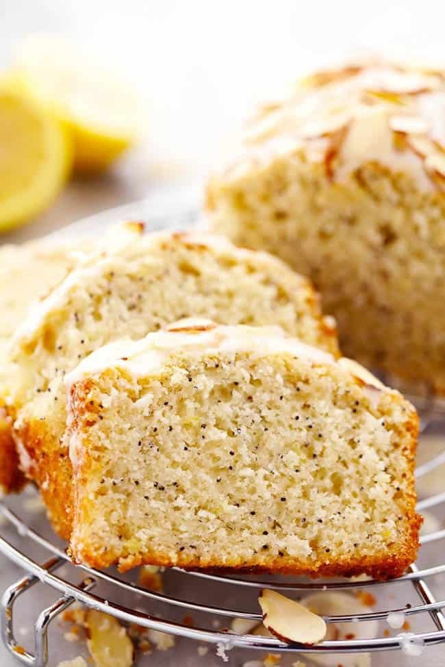 Sliced Lemon Almond Poppyseed Quick Bread on a cooling rack.