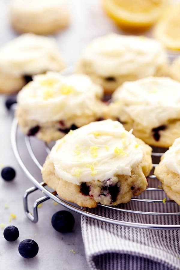 Blueberry Lemon Cookies with Lemon Cream Cheese Frosting
