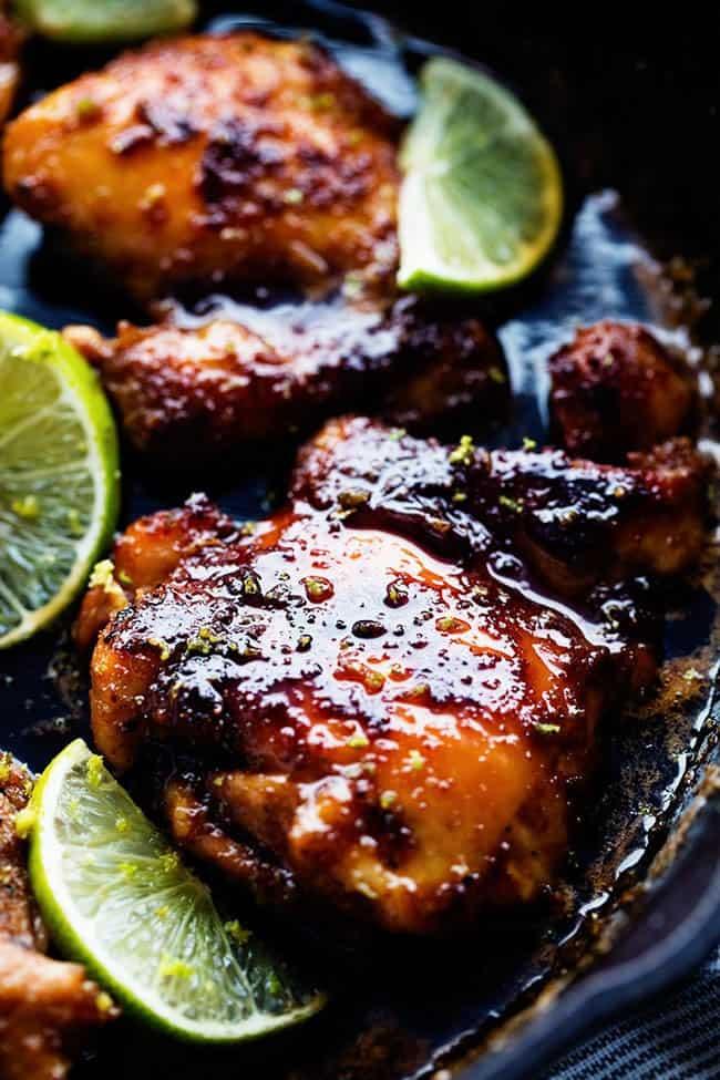 Skillet honey lime chicken in a large skillet.