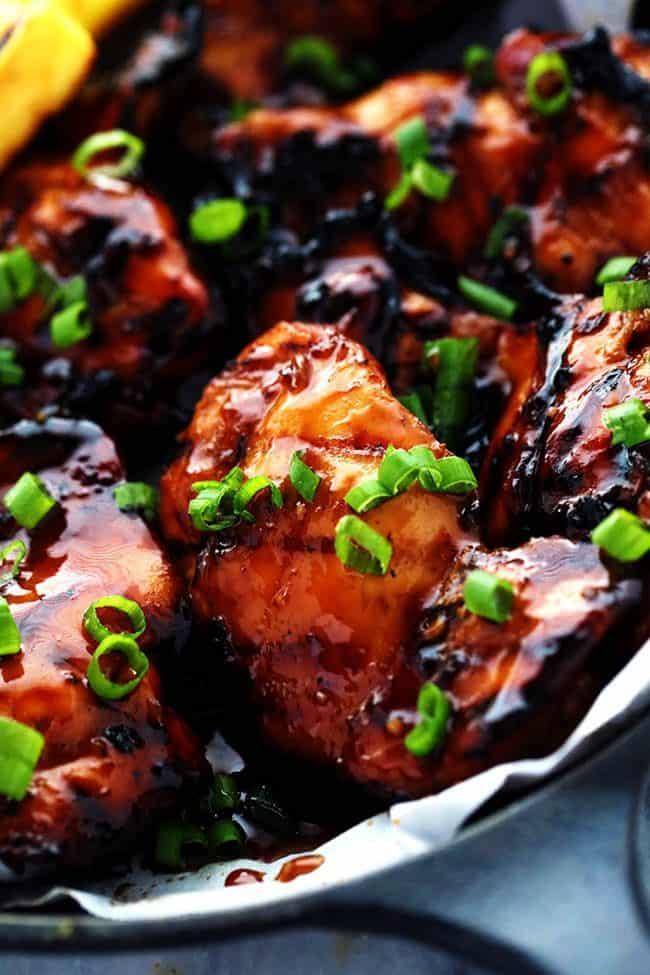 Grilled Huli Huli Chicken in a skillet.