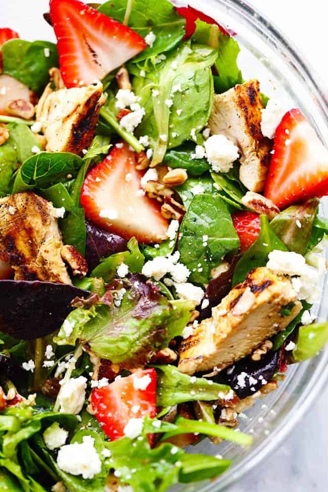 Strawberry Balsamic Chicken Salad in a clear bowl.