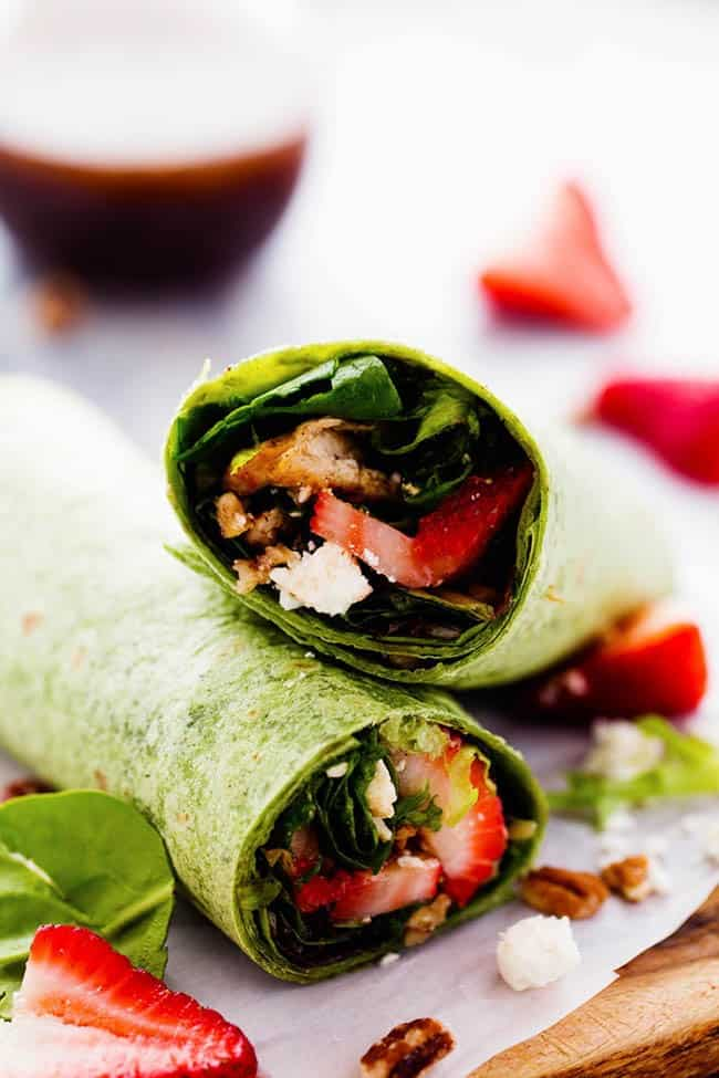 Strawberry Balsamic Chicken Salad Wrap cut in half to show what the inside looks like.