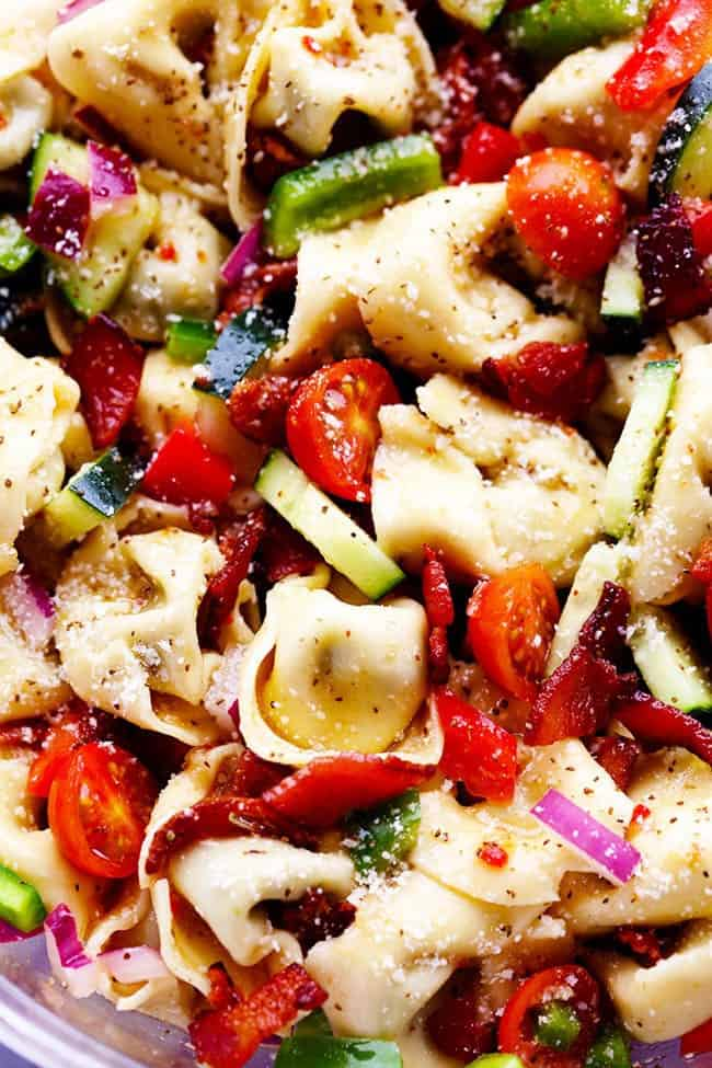 Close up photo of Zesty Tortellini Bacon Vegetable Salad.