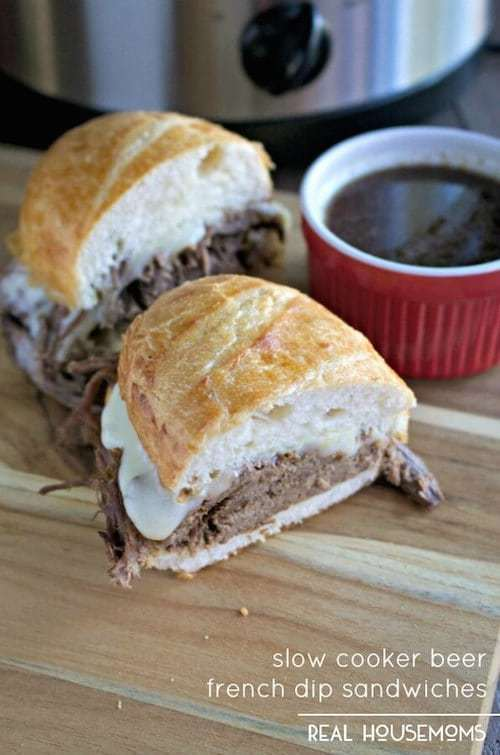 Slow Cooker Beer French Dip Sandwiches