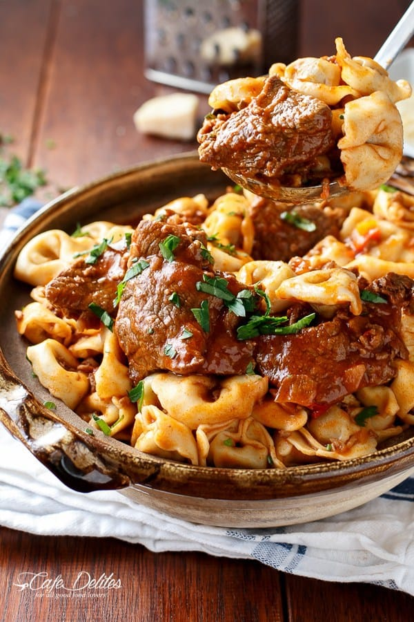 Tortellini with Chunky Beef Sauce