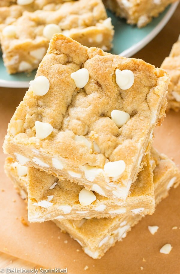 White Chocolate Blondies stacked on top of one another.