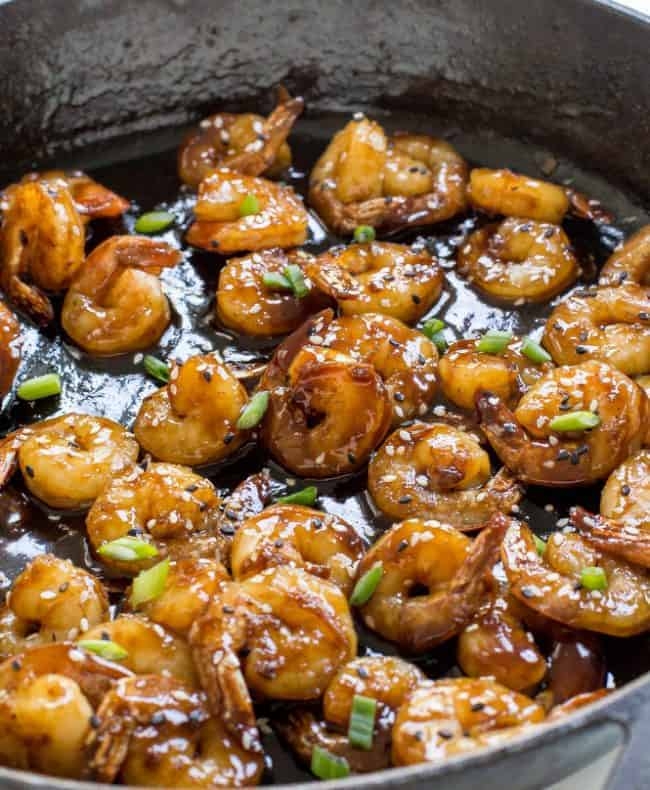 Hoisin Shrimp in a skillet.