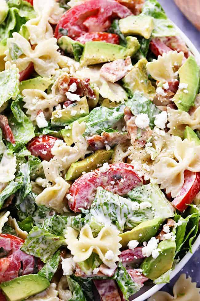 BLT Avocado Pasta Salad in a large white bowl.