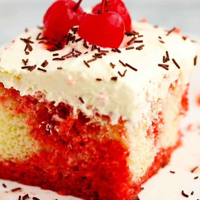 Cherry Jello Coke Poke Cake The Recipe Critic